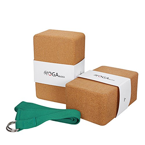 JBM Yoga Block Plus Strap with Metal D-Ring Yoga Brick Cork Yoga Block 6 Colors - High Density EVA Foam Yoga Block to Support and Deepen Poses Odor-Resistant