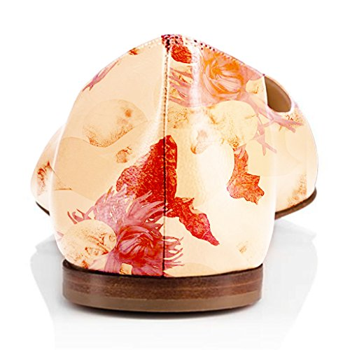 Fsj Femmes Frais Floraux Imprimés Appartements Pompes Bout Pointu Glisser Sur Les Chaussures Habillées Pour Le Confort 4-15 Nous Orange Fleur
