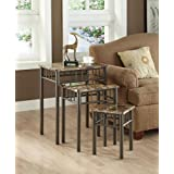 NESTING TABLE - 3PCS SET / CAPPUCCINO MARBLE / METAL
