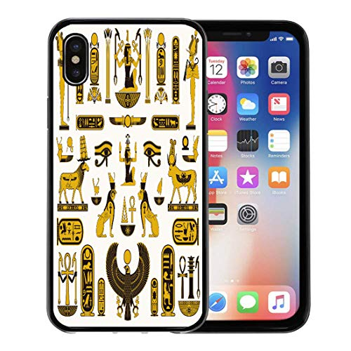 Semtomn Phone Case for Apple iPhone Xs case,Egypt Ancient Egyptian Symbols Pharaoh Pyramid Horus Pattern Falcon for iPhone X Case,Rubber Border Protective Case,Black