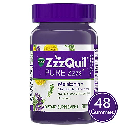 (Vicks ZzzQuil PURE Zzzs Melatonin Natural Flavor Sleep Aid Gummies with Chamomile, Lavender, & Valerian Root, 1mg per gummy, 48 Count)