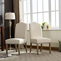 Roundhill Furniture Mod Urban Style Solid Wood Nailhead Fabric Padded Parson Chair (Set of 2), Tan