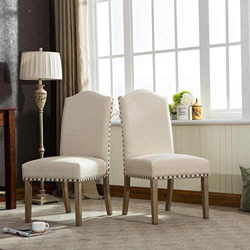 Roundhill Furniture Mod Urban Style Solid Wood Nailhead Fabric Padded Parson Chair Set of 2 , Tan