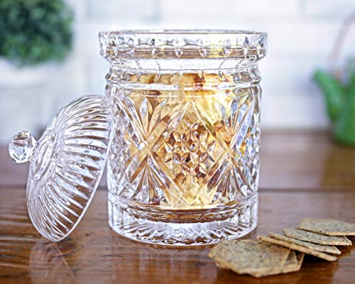 Elegant Crystal Candy Jar with Lid, Glass Biscuit Jar - Cookie Jar for Food Storage and Organization - 24 ounce Diamond-faceted Crystal Dish