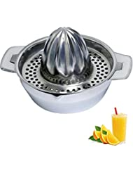Citrus Juicer & Strainer by Lu Cucina - Stainless Steel - Make Your Own Orange - Grapefruit - Lemon & Fruit Juices - 13.5oz Capacity