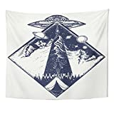 Emvency 50x60 Inch Tapestry Mandala Home Decor Ufo Tattoo And Invasion Of Aliens Kidnap Human Mystical Symbol Paranormal Phenomena Tapestries Bedroom Living Room Dorm