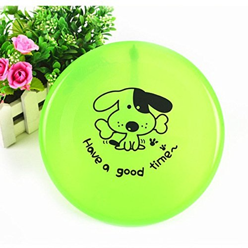 Dog Frisbee - Green - Cute Pet Flying Disc, Tooth Resistant, Outdoor Training, Fetch Toy - 8'
