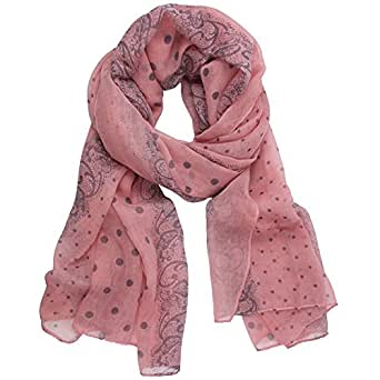 niceeshop(TM) Fashion Women Lady Polka Dot Lace Print Fluid Quality Paris Yarn Autumn and Winter Long Shawl Scarf-Pink
