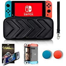 BOKING Nintendo Switch Carry Case black hard lightweight shell portable suitcase+ HD Screen Protector+Switch Body protective shell+Thumb Grips Caps for Nintendo Switch Console Accessories