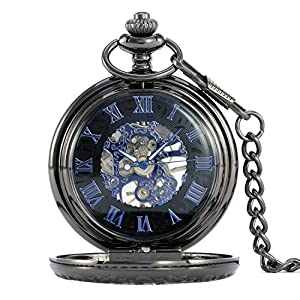 Alienwolf Pocket Watch Steampunk Pocket Watch with Cool Chain for Men Women Bronze