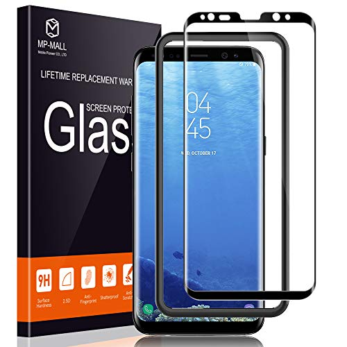 MP-MALL Screen Protector for Samsung Galaxy S8, [Tempered Glass] [Full Cover] [Alignment Frame Easy Installation] with Lifetime Replacement Warranty (Best Galaxy S8 Screen Protector)