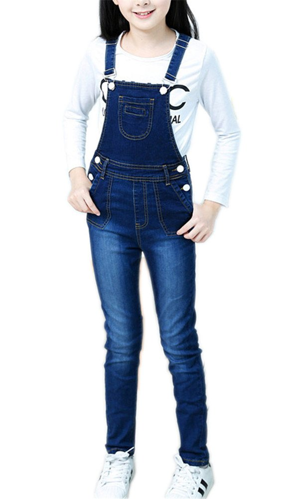 Sitmptol Girls Little Big Kids BF Long Jeans Cotton Denim Bib Overalls Dark Blue Long 140