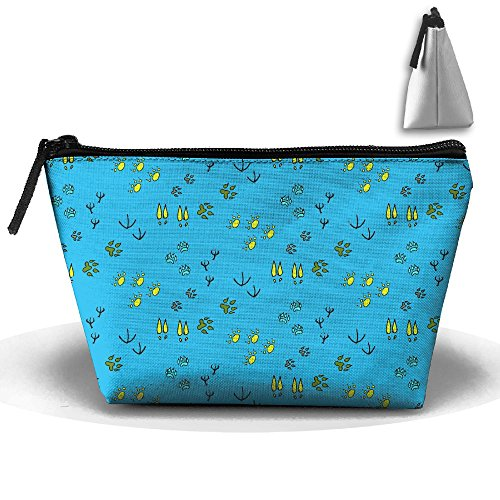 Hand Drawn Doodle (Hand Drawn Doodle Animal Footprints Classic Cosmetic Bag Portable Travel Bag Reusable Cosmetic Bag Large Capacity Pencil Bag Zipper Storage Bag)