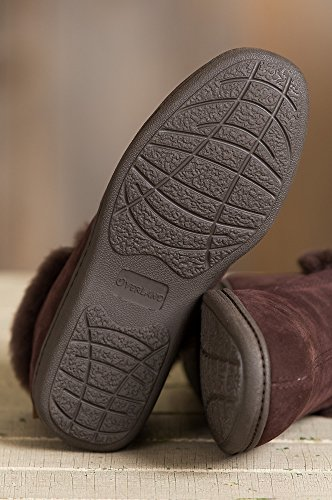Womens Overland Terra Shearling-Lined Cowhide Suede Slipper Shoes Dark Brown UWwMP5obS