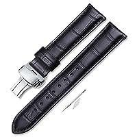 Banda de reloj de repuesto acolchada de cuero de becerro iStrap de 22 mm con botón desplegable y hebilla negra 22
