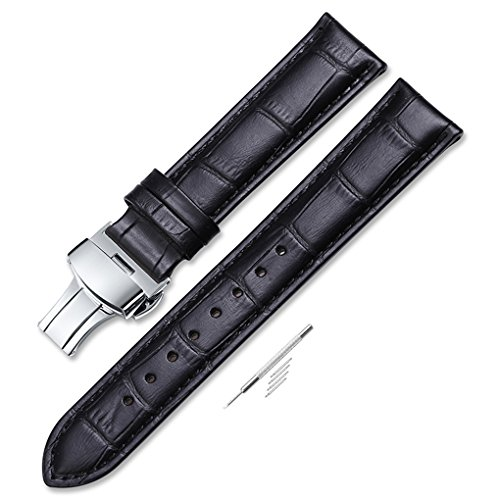 iStrap 20mm Calf Leather Padded Replacement Watch Band W/ Push Button Deployment Buckle Black ()