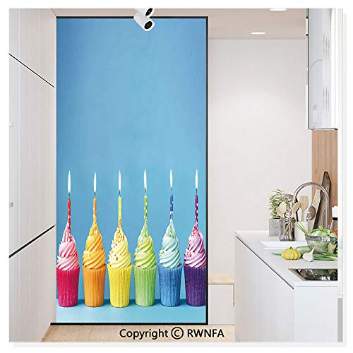 Window Film No Glue Glass Sticker Cupcakes in Rainbow Colors with Candles Fun Homemade Party Food Sweet Static Cling Privacy Decor for Kitchen Bathroom 17.7x59.8inches,Multicolor -