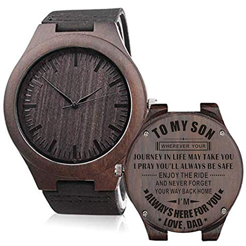 Personalized Wooden Watch for Men Dad Husband Son Custom Wood Engraved Leather Strap Wristwatch Boyfriend Groomsmen Gift Father's Day Birthday Anniversary Wedding Christmas (to My Son-Dad) (Best Christmas Gift For My Boyfriend)