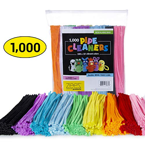 Zees 1,000 Pipe Cleaners in 10 Assorted Colors, Value Pack of Chenille Stems for DIY Arts and Craft Projects and Decorations - 6mm x 12 Inches]()