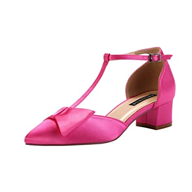 514756f4bd7 ERIJUNOR Bow Shoes Comfortable Low Heels for Women Pointy Toe T-Strap Wide  Width Evening Wedding Satin Shoes