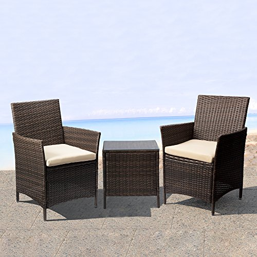 Devoko Patio Porch Furniture Set 3 Piece PE Rattan Wicker Chairs Beige Cushion With Table Outdoor Garden Furniture Sets (Rattan, Brown)