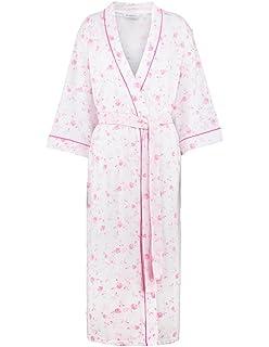 c04468e5e7 Slenderella HC7139 Women s Pink Floral Cotton Dressing Gown Robe Housecoat