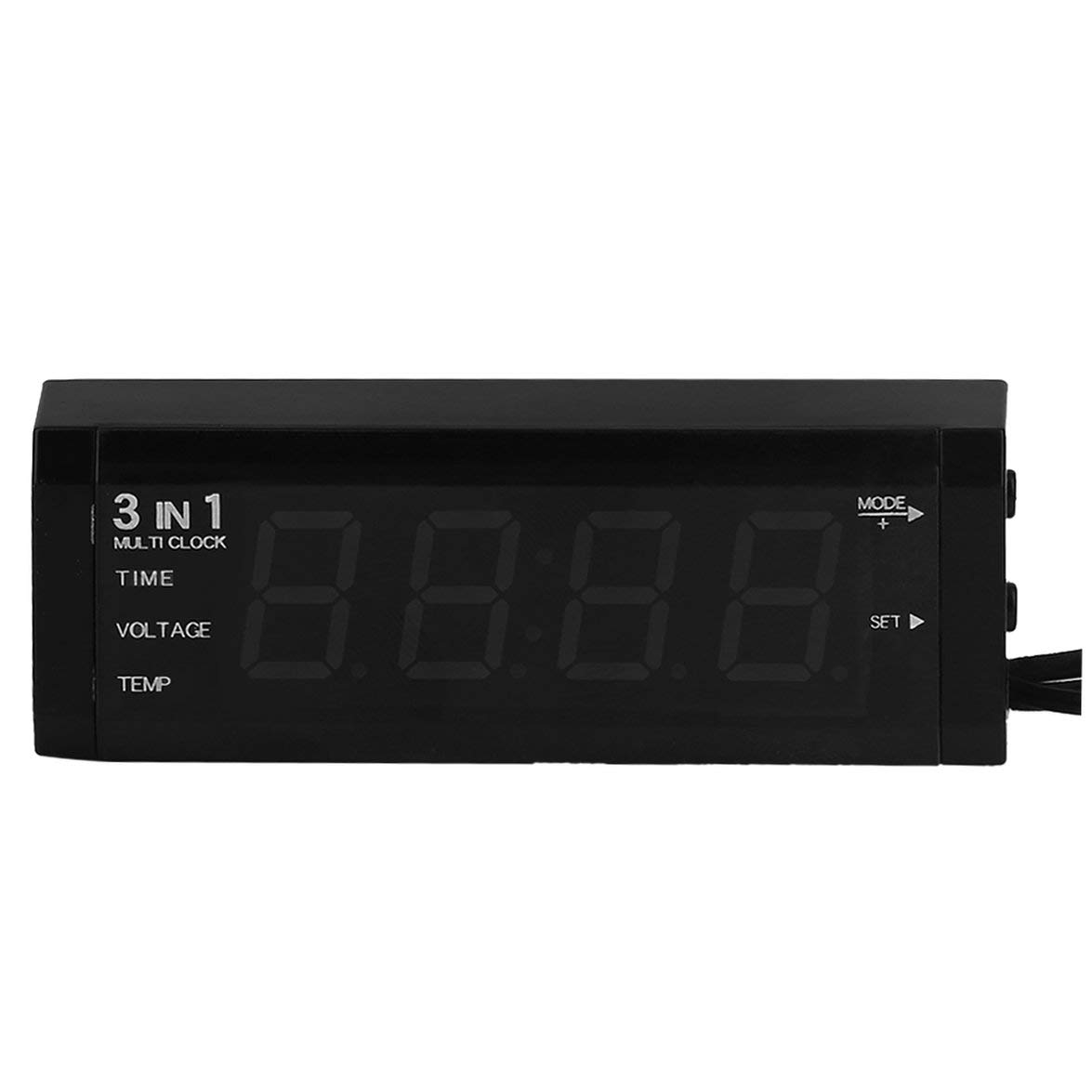 LCD Display Uhr Hei/ßer 24 V Digital Auto Auto Thermometer Kongqiabona Auto 3 in 1 12 V Auto Voltmeter Spannungsmesser Tester Monitor