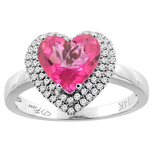 14K White Gold Natural Pink Topaz Ring Heart Shape 8 mm Diamond Accents, size 10