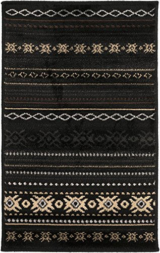 Diva At Home 2.75' x 7.5' Brown and Black Decorative Machine Made Area Throw Rug with Low Pile by Diva At Home
