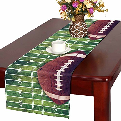 INTERESTPRINT Football Field Table Runner Home Decor 14 X 72 Inch, Sport Soccer Table Cloth Runner for Wedding Party Banquet Decoration for $<!--$19.99-->