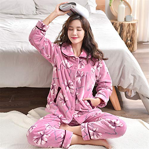 And Set Pajamasx 65kg Warm Cardigan 58 Xl162 Coral 168cm Large Size Homewear Autumn Long Thicken Women's Pajamas Fleece Sleeve Winter rtq4HZwxr