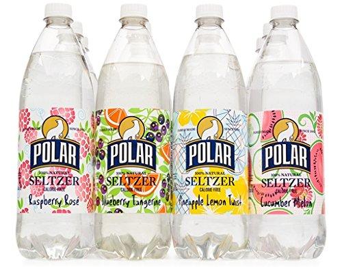 Polar 100% Natural Seltzer 12 x 1L (33.8 Fl oz) - Summer Variety - (Raspberry Rosé, Blueberry Tangerine, Pineapple Lemon, Cucumber Melon)
