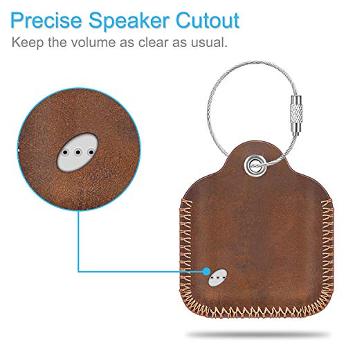 Fintie Genuine Leather Case for Tile Mate (2020 & 2018 & 2016) / Tile Pro (2020 & 2018) / Tile Sport/Tile Style Key Finder Phone Finder, Anti-Scratch Protective Skin Cover with Keychain, Brown