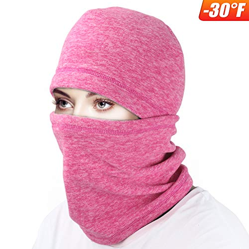 - mysuntown Ski Face Mask Balaclava Fleece Hood for Men Women,Winter Neck Warmer Windproof Cap for Snowboarding Running Cycling (Pink)