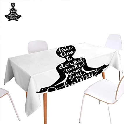 Amazon.com: familytaste Yoga Rectangular Tablecloth Black ...