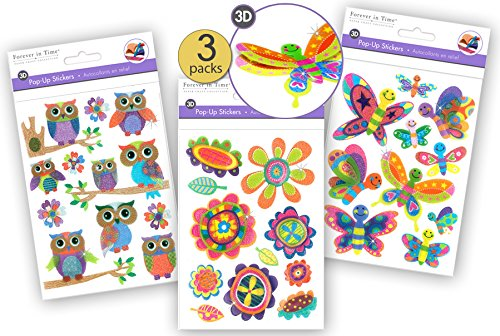3 Pk - Glitter Stickers - 3D Stickers - Pop-up Stickers - Dimensional Stickers - Layered Stickers - Stacked Stickers - Scrapbook Stickers - Scrapbooking Embellishments - Bulk Value Variety Pack Scrapbook Embellishments Free