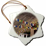 3dRose India, Ladakh, Himalayas, Buddhist Prayer Flags AS10 AAS0074 Anthony Asael Snowflake Ornament, 3''