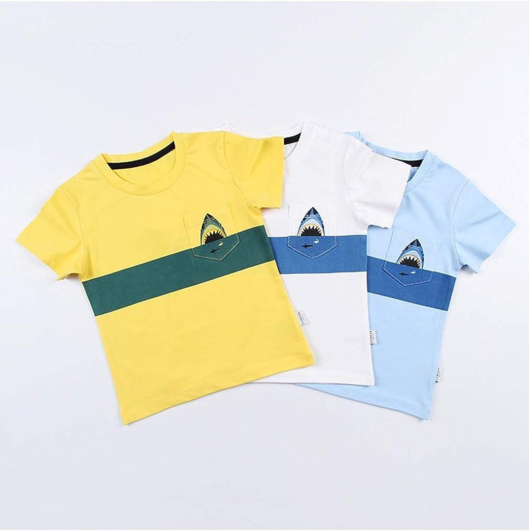 HUHUXXYY Kids Little Boys Summer Short Sleeve Patchwork Shark Casual Cotton T-Shirt