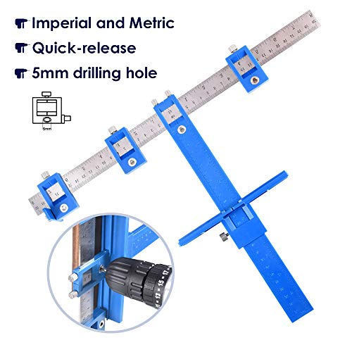 Adjustable Punch Locator Drill Guide Sleeve Cabinet Hardware Jig Template Wood Drilling Dowelling for Installation of Handles, Knobs on Doors and Drawer Pull
