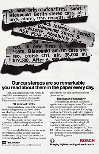 1986 Bosch Car Stereos: Read About Them in the Paper, Bosch Print Ad - Stereo Bosch