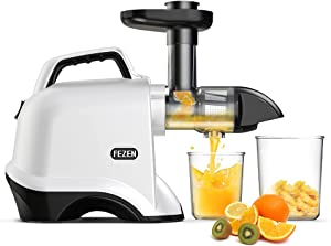 FEZEN Slow Juicer, Juicer Machines Vegetable & Fruit, Cold Press Juicer Easy to Clean, Slow Masticating Juicers with Quiet Motor & Reverse Function, Juicer Extractor 90% Juicer Yield & Purest Juice