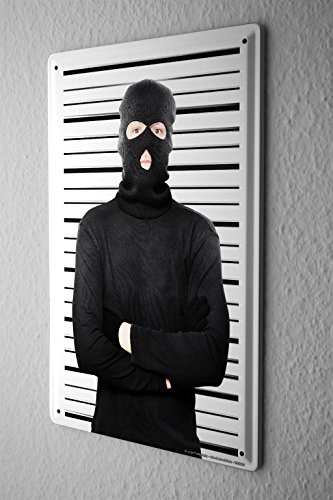 Tin Sign Jorgensen Photography Photo images robber mask bank robbery police agent 20x30 cm Large Metal Wall Decoration Vintage Retro Classic (Sexy Robber)