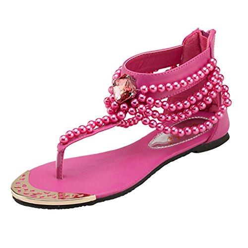 Perle Rhinestones Ankelen Stroppen Sommer Womens Thong Flate Sandaler Med Kjære Tid Rosa