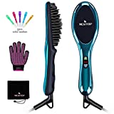 Ionic Hair Straightener Floating Brush for Silky Frizz Free Hair, Flexible Floating Massage