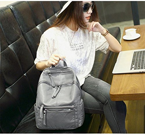 Casual Purse Washed Daily Shoulder Fashion Backpack Rucksack Women UTO PU Grey Ladies Leather Bag tqwvXUFPW