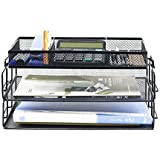 3-Tier File Desktop Tray, Paper Desk Tray Organizer Mesh Desktop Desktop Document Paper File for Office and Home - Black