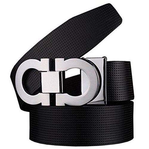 Men's Smooth Leather Buckle Belt 35mm Leather up to 42inch (105-115cm for Choose) 110cm Black-Silver