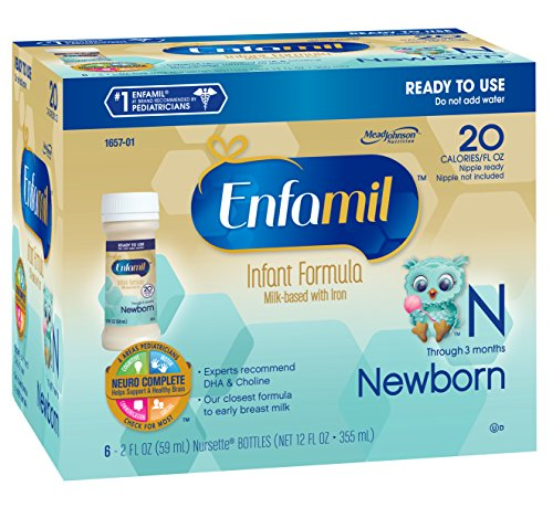 Enfamil  Newborn Baby Formula – 2 fl oz Plastic Nursette Bottles,6 Count (Pack of 4)