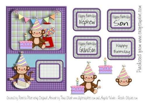 Tarjeta de cumpleaños Mono hijo sobrino Nieto Topper por ...