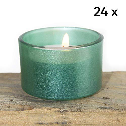 Chive - Emerald Green Opalescent Glass Tealight Candle Holder, 24 Bulk Pack Set for Weddings, Parties, Events and Home Decor Tea Lights